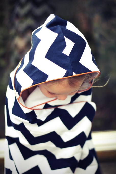 Organic Navy Chevron Hooded Towel